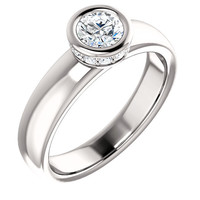 Bezel setting 1.66 carat round brilliant diamonds anniversary ring white gold 14