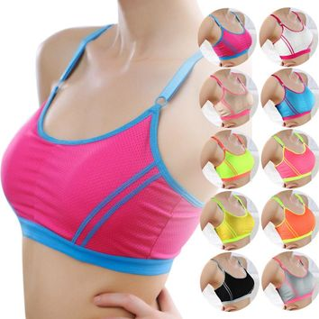 Women sport bra 2018 Women Lady Sports Yoga fitness Athletic Solid Wrap Chest Strap Vest  Push Up Seamless Fitness Top Bras