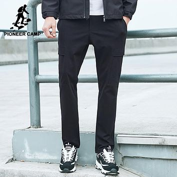 New cargo pants men clothing black casual trousers male top quality stretched straight solid pants