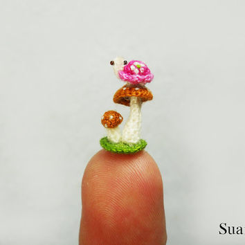 Micro Pink Turtle Brown Mushroom - Tiny Crochet Miniature Tortoise - Made To Order