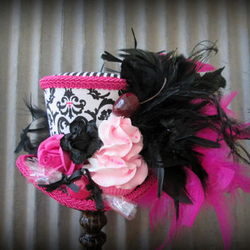 Hot Pink and Black Cupcake Mini Top Hat, Mad hatter, Alice in Wonderland Hat, Tea Party Hat, Candy Land Mini Hat, Party Hat, Cupcake Hat