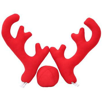 3pcs Christmas Reindeer Antlers Red Nose for Car