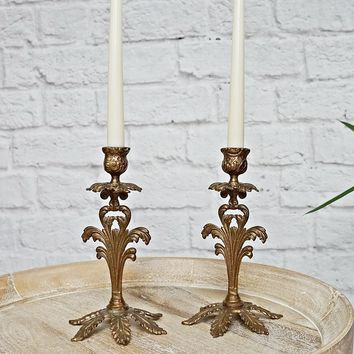 Vintage 1970s Baroque + Brass Candlestick Pair