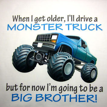Monster Truck Big Brother T-Shirt / Pregnancy Announcement / Big Brother Shirt / T-Shirt / Onesuit