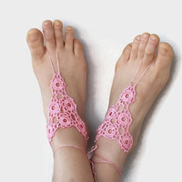 Pinkish Crochet Barefoot Sandals Crochet Anklet, Sexy Lace sandals,Beach,Wedding footwear,  Bridesmaid Sandals