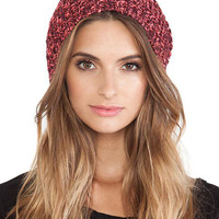 Pink Turn Up Twist Yarn Beanie Hat