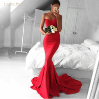 Classical Women Prom Dress Sweetheart Off Shoulder Long Mermaid Red Prom Evening Dress with Long Train Cheap Pageant Dress