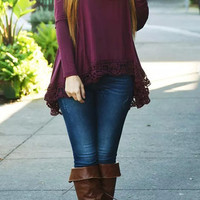 Purple Asymmetrical Lace Hem Shirt
