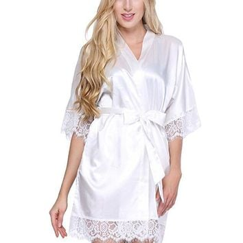 Sexy Wedding Dressing Gown Women Short Satin Bride Robe Lace Silk Kimono Bathrobe Summer Bridesmaid Nightwear