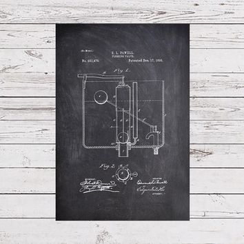 Flushing Valve Patent, Toilet Poster, Bathroom Art, Bathroom Poster, Restroom Print, Restroom Art, Bathroom Wall Print