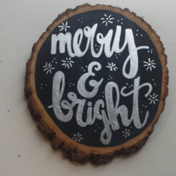 Merry and Bright Christmas Decoration Wood Slice Quote Art Christmas Decor Holiday Art Home Decor Rustic Chic Handmade Holiday Decoration