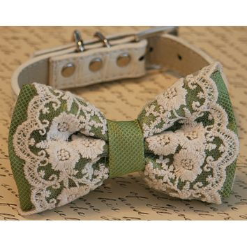 Green Dog Bow Tie collar, Lace wedding accessory