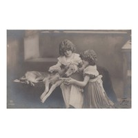 Children with ill dog.Vintage antique Photo.