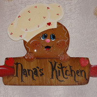 Wooden Gingerbread Baker Frig / Dish Washer Magnet To Be Personalized,,, Gingerbread Decor, Collector,  Kitchen Decor, Country Decor,,