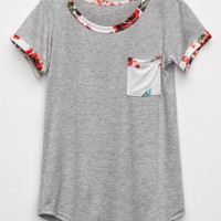 FULL TILT Floral Trim Girls Pocket Tee | Knit Tops & Tees