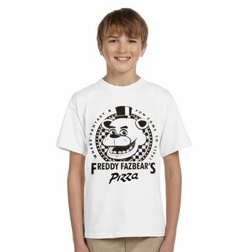 LYTLM Toddler Boys T-shirts Summer Style 5 Nights With Freddie Print T-shirt Children Five Night at Freddy Boys Clothes 12 years