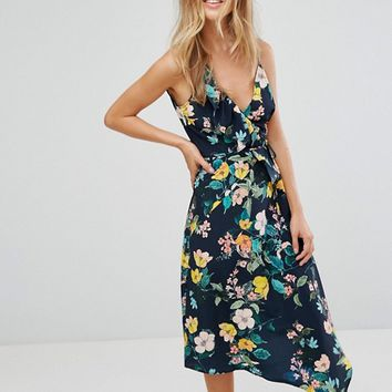 Bershka Strappy Floral Asymmetric Dress at asos.com