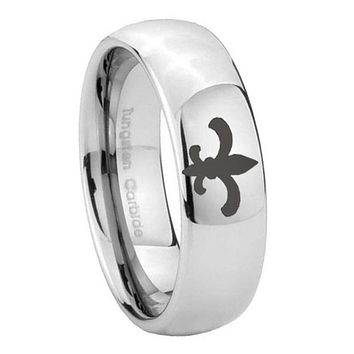 10mm Fleur De Lis Mirror Dome Tungsten Carbide Men's Wedding Ring