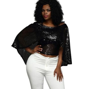 2017 Fashion Women Blouses Sexy Fashion Sleeveless Shawl Black Sequined Casual Batwing Sleeve O-Neck Short Tops ropa mujer #43