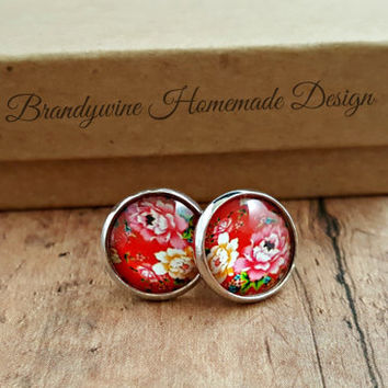 Red Rose Earrings, 12mm Round Glass Cabochon Earrings, Flower Earrings, Stud Earrings, Preppy Earrings, Vintage Look Earrings