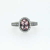 Oval cut Pink Morganite halo engagement ring with diamonds, platinum ring, morganite engagement ring, vintage style, platinum halo rings