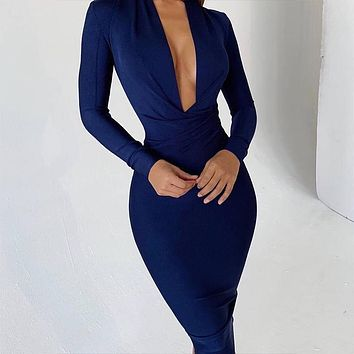 Isle- Navy Blue Deep V Neck Bandage Dress