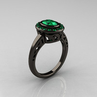 Classic Italian 14K Black Gold Oval Emerald Engagement Ring R195-14KBGEM