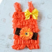 Halloween baby girl lace romper set. Newborn Photo Outfit. Sunflower headband, Orange lace romper. Fall cake smash girls outfit.