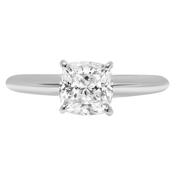14K White Gold 2CT Cushion Cut Solitaire Russian Lab Diamond Engagement Ring
