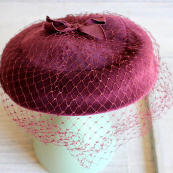 mid-century velour women's birdcage fascinator mini hat pill box : purple plum net veil