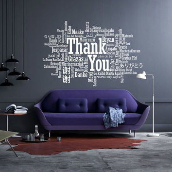 I175 Wall Decal Vinyl Sticker Art Decor Design quote phrase inscription words letter thank you so languages spoken bedroom sign