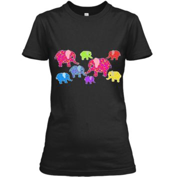 Colorful Baby Elephants T-Shirt for boys and girls Ladies Custom