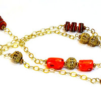 """Long (40"""") and sexy, rich red Coral nugget, African filgreed brass and Tibetan inlaid mala necklace, ethnic jewelry, tribal,bohemian,Scorpio"""