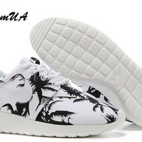 Custom Nike Roshe Run athletic running shoes with palm print