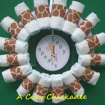 Giraffe Baby Diaper Wreath