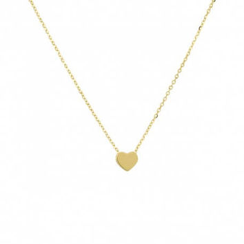 14K Solid Gold Heart Necklace | 925 Sterling Silver | Dainty Delicate