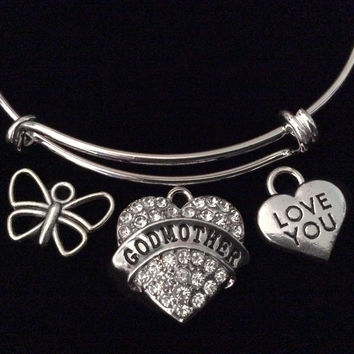 Godmother I Love You Mothers Day Special Expandable Charm Bracelet Silver Adjustable Bangle Trendy Gift