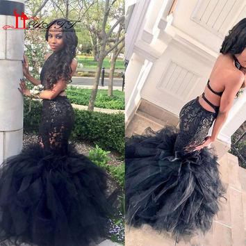 Sexy Black Long Mermaid Prom Dresses Halter Backless Tiered Puffy Train Floor Length Evening Party Gowns Formal Dresses Custom