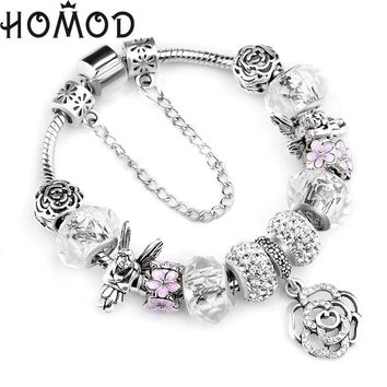 HOMOD Fashion Silver Rose Charms Bracelet Bangle for Women DIY Crystal Beads Fit Pandora Bracelets Women Pulseira Jewelry