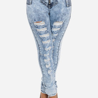 High Waist Zip Up Ripped Skinny Jeans