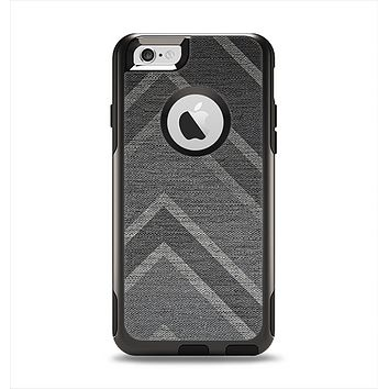 The Two-Toned Dark Black Wide Chevron Pattern V3 Apple iPhone 6 Otterbox Commuter Case Skin Set