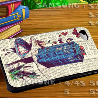 Vintage Alice in Wonderland and Dr Who For iphone 4 iphone 5 samsung galaxy s4 / s3 / s2 Case Or Cover Phone.