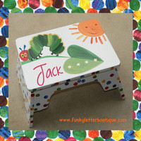 Personalized Very Hungry Caterpillar Children's Step Stool