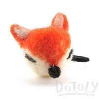 Needle Felted Wool Orange Fox Hair Tie | DOTOLY