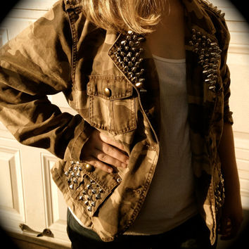 Camo Military Jacket 160 Studs and Spikes Studded Spiked Jacket Distressed Army Country Cowgirl Punk Rocker Grunge