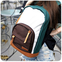 Korean Canvas Backpack Patchwork Casual Travel Bags [8226766215]