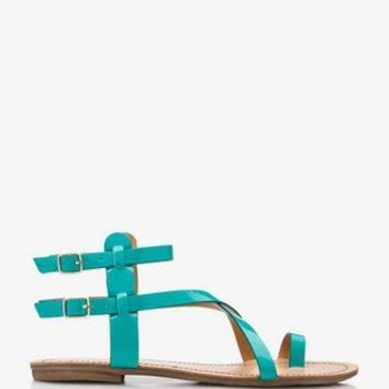 Faux Patent Leather Sandals