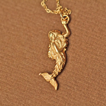 Mermaid necklace - gold mermaid necklace - sea princess - a 22k gold plated mermaid on a 14k gold vermeil chain