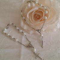 48 Silver Communion Rosary Favor, SIlver Bracelets Rosary For Baptism Favor, Baptism Favor, 24 Mini Rosary, White Rosaries, First Communion Rosaries