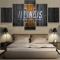 University of Illinois College Barnwood Style Canvas